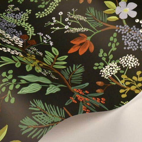 Juniper Forest Wallpaper in Black from the Rifle Paper Co. Collection by York Wallcoverings