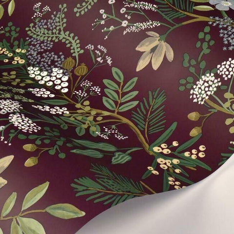 Juniper Forest Wallpaper in Burgundy from the Rifle Paper Co. Collection by York Wallcoverings