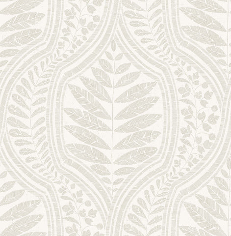 Juno Ogee Wallpaper in Beige from the Scott Living Collection by Brewster Home Fashions