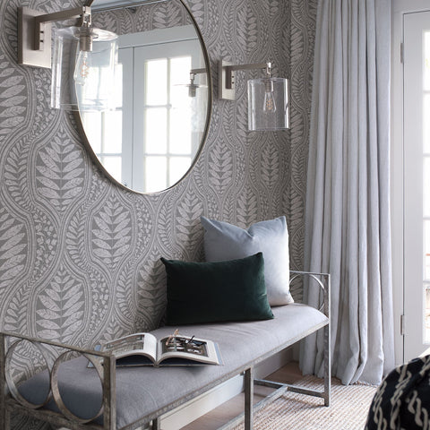 Juno Ogee Wallpaper in Dark Grey from the Scott Living Collection by Brewster Home Fashions