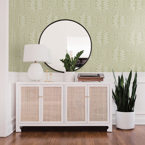Juno Ogee Wallpaper in Green from the Scott Living Collection by Brewster Home Fashions