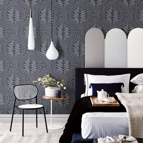 Juno Ogee Wallpaper in Indigo from the Scott Living Collection by Brewster Home Fashions