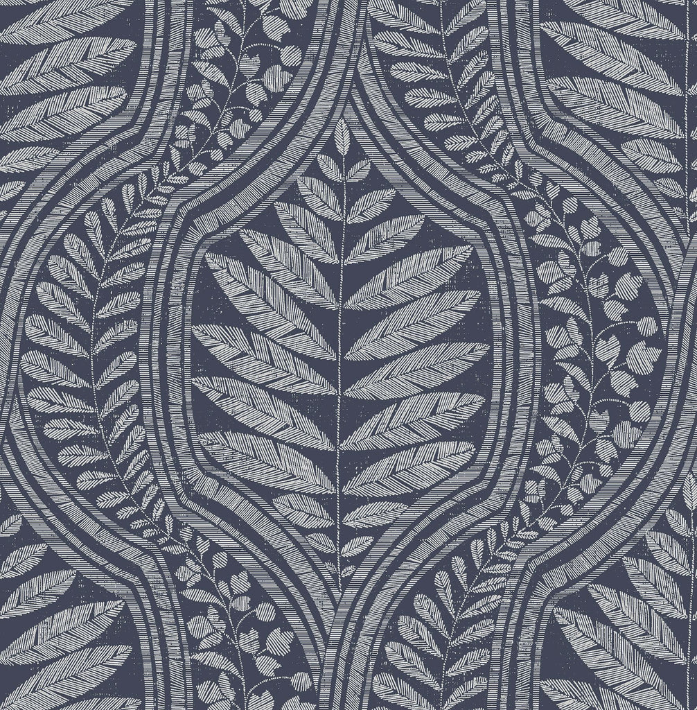 Sample Juno Ogee Wallpaper in Indigo from the Scott Living Collection by Brewster Home Fashions