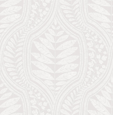Juno Ogee Wallpaper in Light Grey from the Scott Living Collection by Brewster Home Fashions