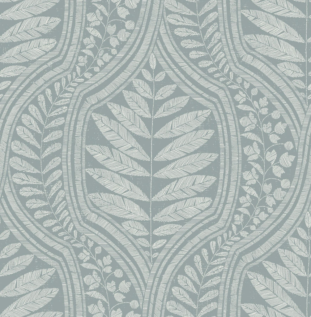 Sample Juno Ogee Wallpaper in Teal from the Scott Living Collection by Brewster Home Fashions