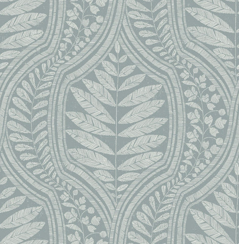 Juno Ogee Wallpaper in Teal from the Scott Living Collection by Brewster Home Fashions