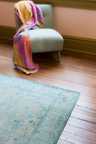 Alessia Border Rug in Pelican & Aquatic design by Jaipur