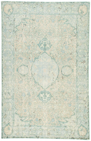 Alessia Border Rug in Pelican & Aquatic design by Jaipur Living
