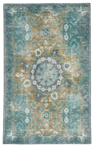 Modify Hand-Knotted Medallion Teal & Olive Area Rug