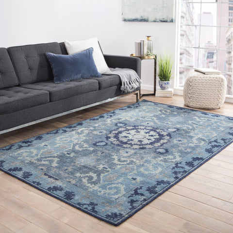 Modify Medallion Rug in Moonlight Blue & Peacoat design by Jaipur