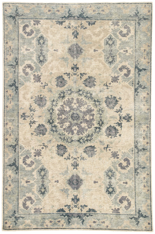 Modify Hand-Knotted Medallion Blue & Light Gray Area Rug
