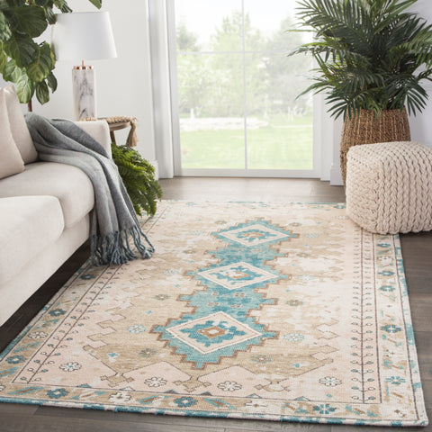 Pathos Hand-Knotted Medallion Pink & Blue Area Rug