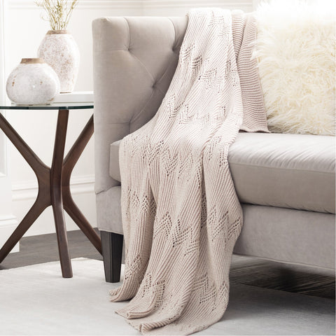 Kiersten KET-1000 Knitted Throw in Ivory by Surya