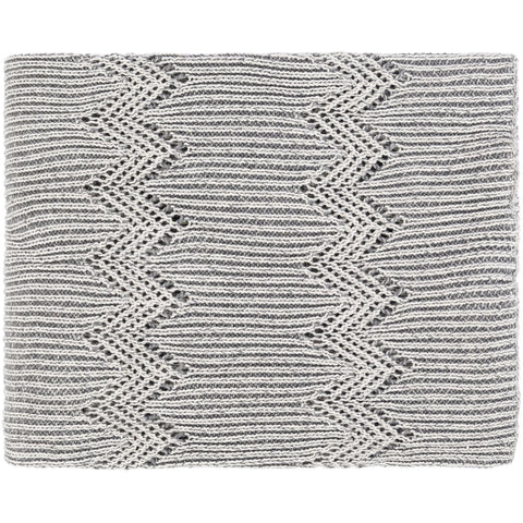 Kiersten KET-1001 Knitted Throw in Medium Grey by Surya