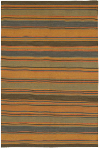 Kilim Collection Flat-Weaved Area Rug in Orange, Blue, & Green design by Chandra rugs