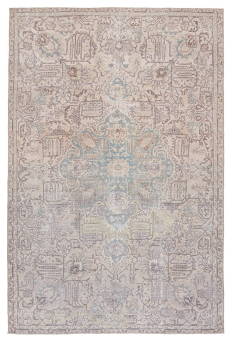 Parisa Medallion Rug in Light Blue & Light Tan by Jaipur Living