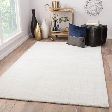 Kelle Solid Rug in Whitecap Gray & Bright White design by Jaipur