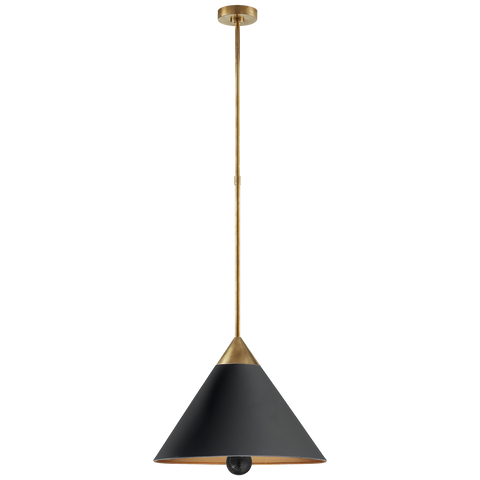 Cleo Pendant in Antique-Burnished Brass and Black with Frosted Acrylic