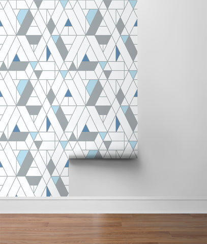 Kaleidoscope Peel-and-Stick Wallpaper in Blue and Grey by NextWall