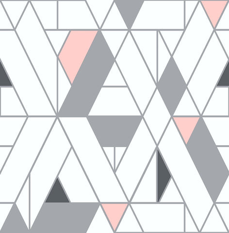 Kaleidoscope Peel-and-Stick Wallpaper in Pink and Charcoal by NextWall