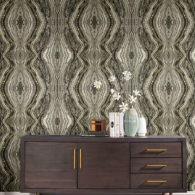 Kaleidoscope Wallpaper in Charcoal by Antonina Vella for York Wallcoverings