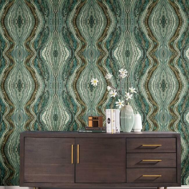 Kaleidoscope Wallpaper in Teal by Antonina Vella for York Wallcoverings