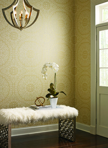 Karma Wallpaper in Gold and Silver design by Candice Olson for York Wallcoverings