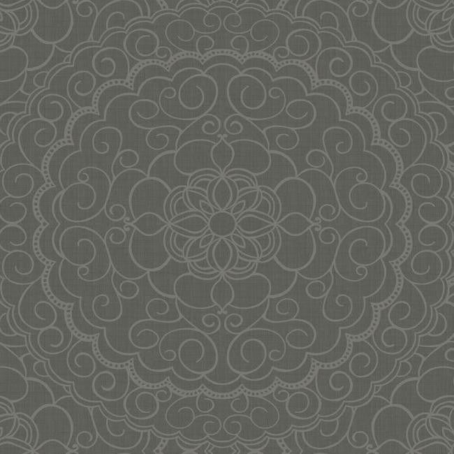 Sample Karma Wallpaper in Black and Gold design by Candice Olson for York Wallcoverings