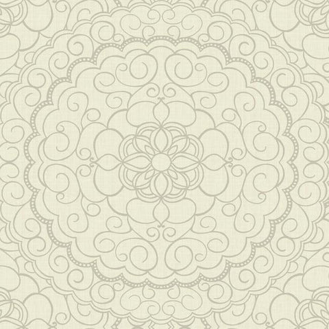 Sample Karma Wallpaper in White and Grey design by Candice Olson for York Wallcoverings