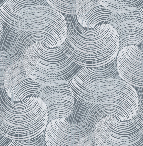 Karson Swirling Geometric Wallpaper in Blue from the Scott Living Collection by Brewster Home Fashions