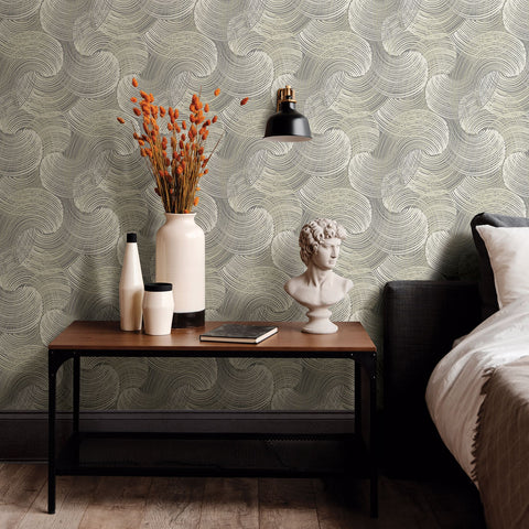 Karson Swirling Geometric Wallpaper in Grey from the Scott Living Collection by Brewster Home Fashions