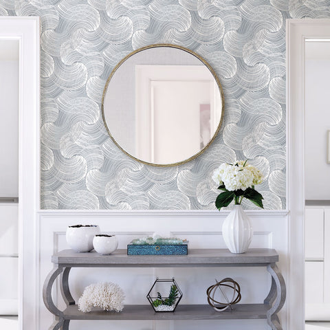 Karson Swirling Geometric Wallpaper in Slate from the Scott Living Collection by Brewster Home Fashions