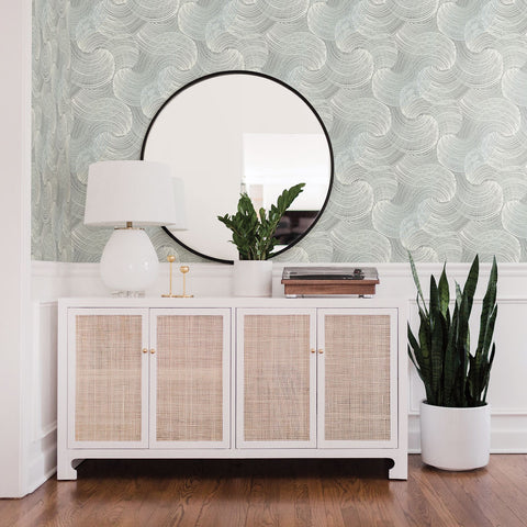 Geometric Wallpaper in Teal from the Scott Living Collection by Brewster Home Fashions