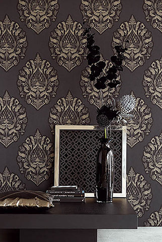 Kavala Charcoal Damask Wallpaper from the Savor Collection by Brewster Home Fashions
