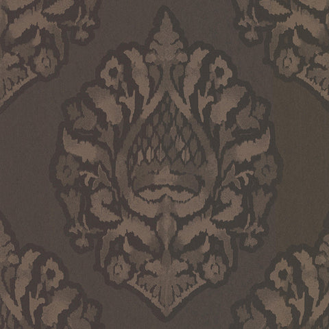 Kavala Espresso Damask Wallpaper from the Savor Collection by Brewster Home Fashions