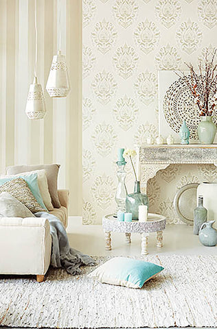 Kavala Light Grey Damask Wallpaper from the Savor Collection by Brewster Home Fashions