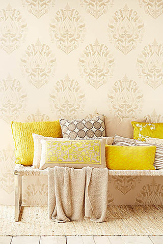 Kavala Taupe Damask Wallpaper from the Savor Collection by Brewster Home Fashions