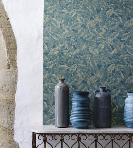Kayin Wallpaper in Dark Steel Blue and Metallic from the Pasha Collection by Osborne & Little