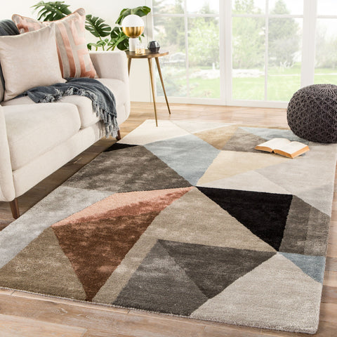 Scalene Handmade Geometric Gray & Blue Area Rug