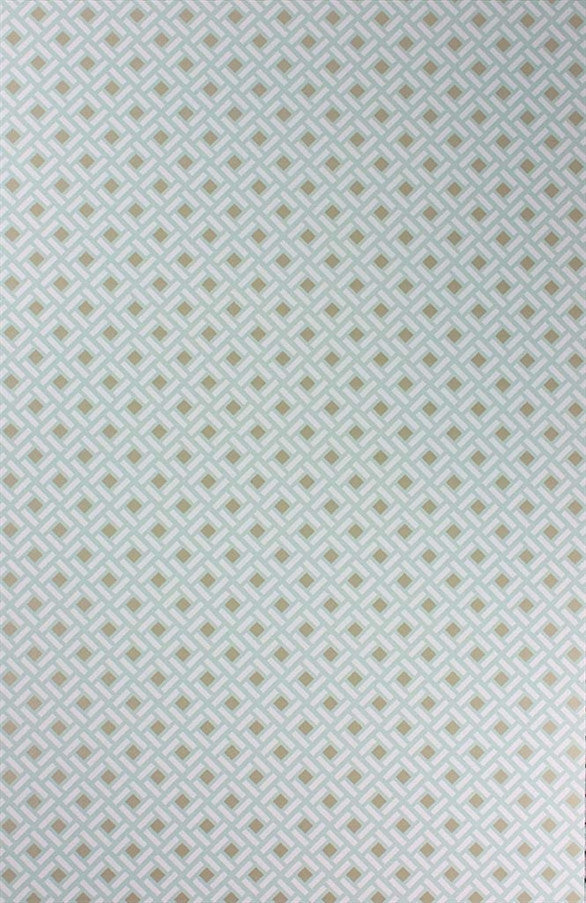 Kelburn Wallpaper in Aqua and Gilver by Nina Campbell for Osborne & Little