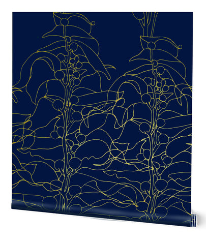 Kelp Forest Wallpaper in Indigo on Copper by Tommassini Walls