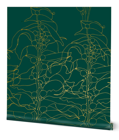 Kelp Forest Wallpaper in Emerald on Gold by Tommassini Walls