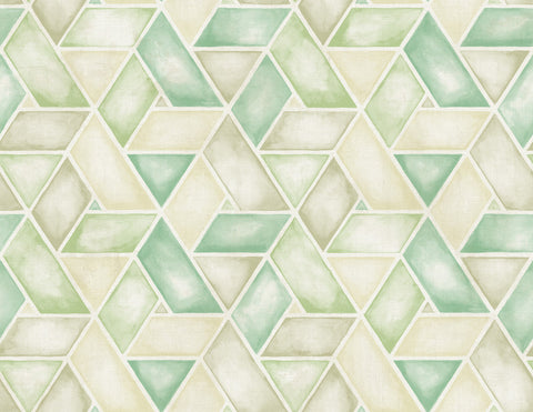 Kentmere Geo Wallpaper in Green from the Lugano Collection by Seabrook Wallcoverings