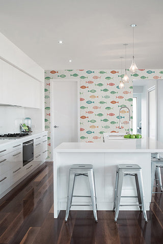 Key West Aqua Fish Wallpaper from the Seaside Living Collection by Brewster Home Fashions