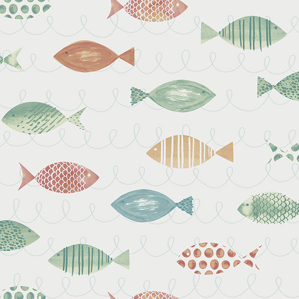 Sample Key West Aqua Fish Wallpaper from the Seaside Living Collection by Brewster Home Fashions