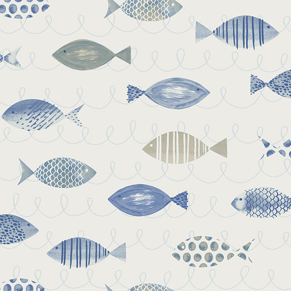 Sample Key West Blue Fish Wallpaper from the Seaside Living Collection by Brewster Home Fashions