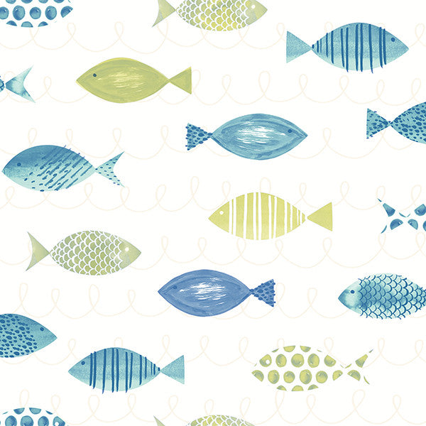 Sample Key West Green Fish Wallpaper from the Seaside Living Collection by Brewster Home Fashions