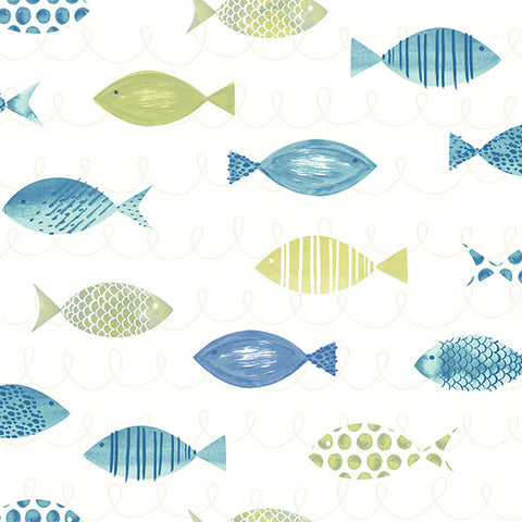 Key West Green Fish Wallpaper from the Seaside Living Collection by Brewster Home Fashions