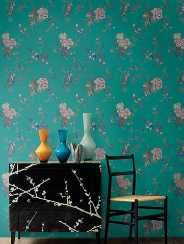Kimono Wallpaper from the Watercolor Florals Collection by Mayflower Wallpaper