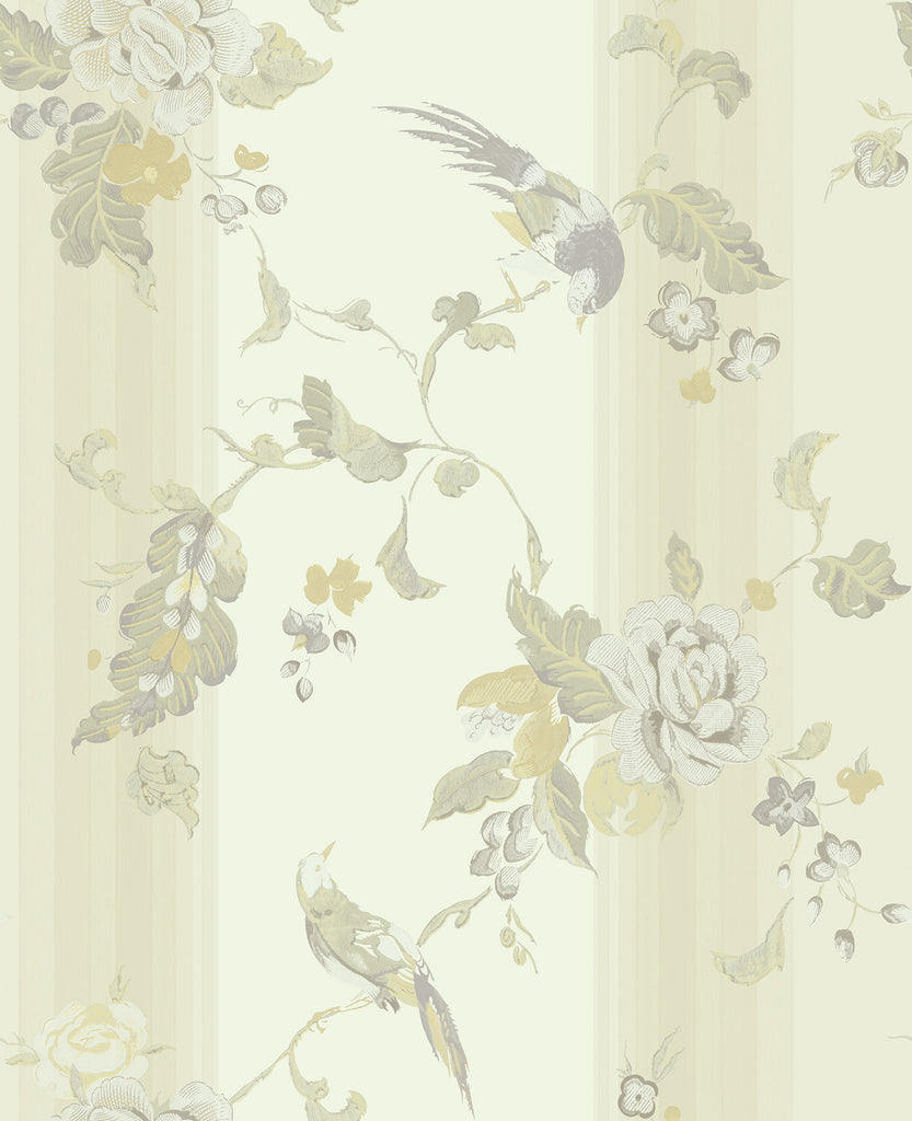 Sample Kimono Wallpaper in Cream, Green, and Grey from the Watercolor Florals Collection by Mayflower Wallpaper